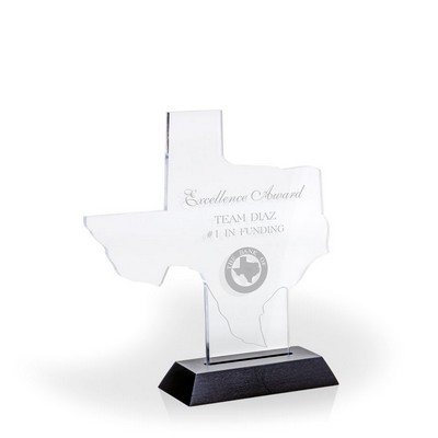 "Great State of Texas Award w/ Black Base - Acrylic (7 3/8""x6"")"