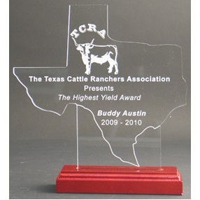 Great State of Texas Award w/ Rosewood Base - Acrylic (9 3/4